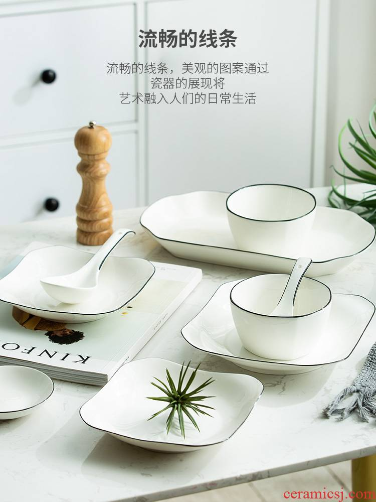 Dish home eat rice bowl Dish European black line Dish Dish Dish soup bowl ceramic tableware suit bowl of rice bowl chopsticks combination