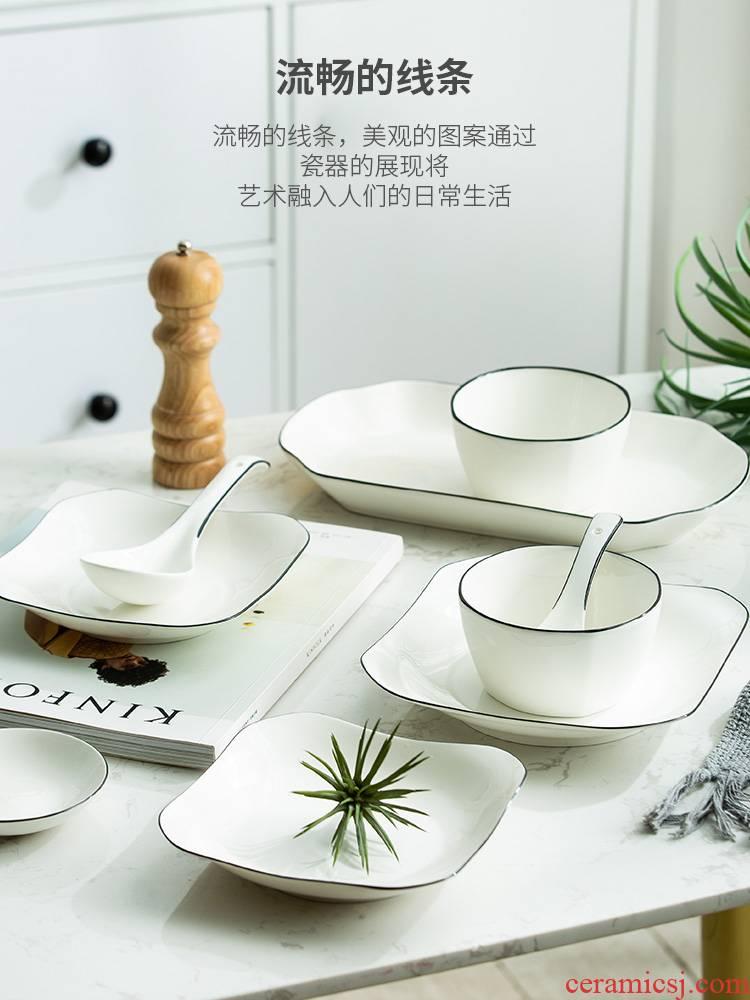 For household jobs the European black line dish dish dish soup bowl ceramic tableware suit bowl of rice bowl chopsticks combination