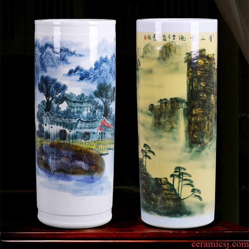 Jingdezhen ceramics landing a large vase furnishing articles hand - made straight bottle creative Chinese style home sitting room adornment