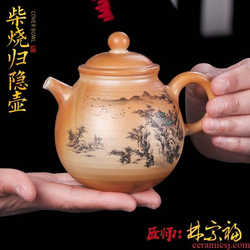 Artisan fairy pure manual restoring ancient ways to burn pot of ceramic household hand - made kung fu tea set unglazed teapot single pot type