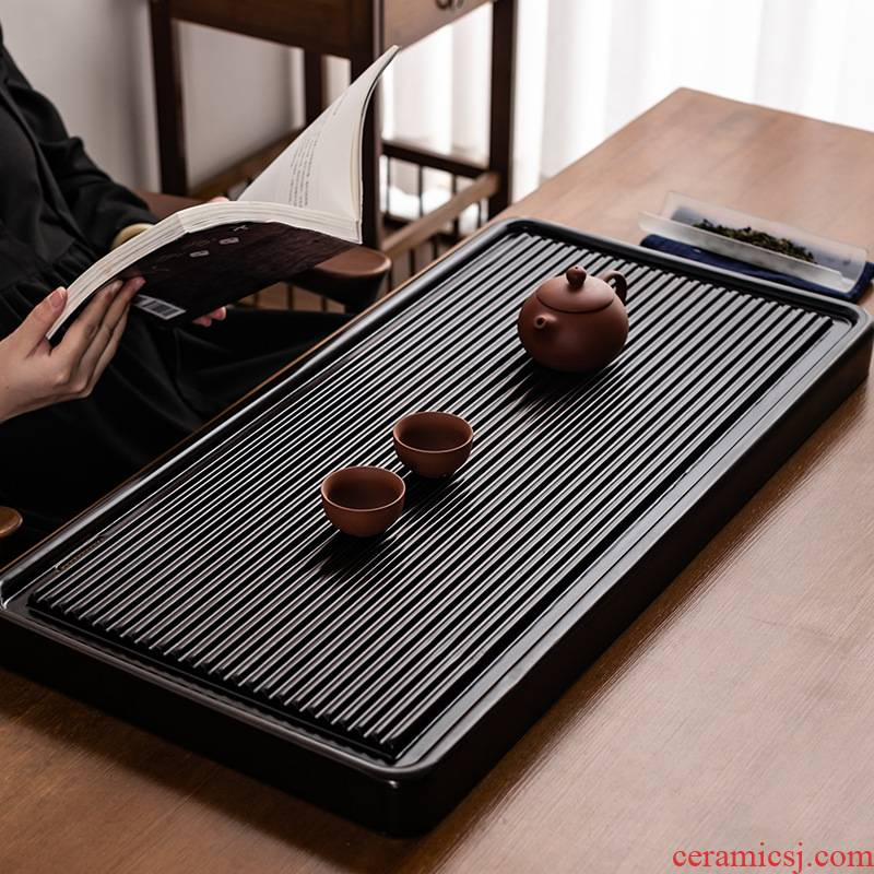 Four - walled yard blocks ebony wood tea table ground rectangle drainage kung fu tea tea, head of logs