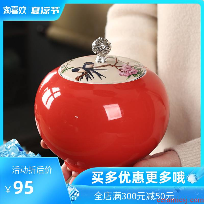 The Crown chang caddy fixings ceramic high - grade seal tank household size a jin pu 'er tea product storage tanks