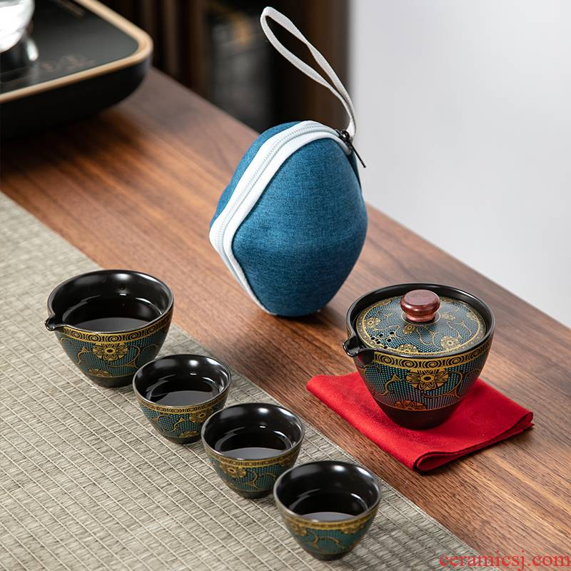 In building ceramic travel kung fu tea set suit portable bag crack cup car is suing tea kettle