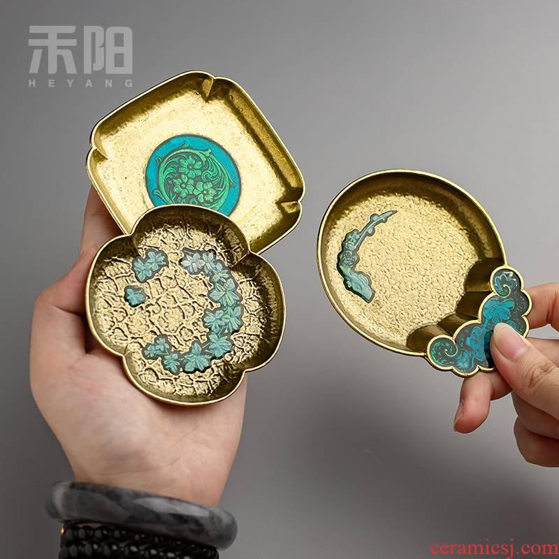 Send Yang cloisonne teacup pad insulation mat enamel color restoring ancient ways golden cup mat and creative tea accessories