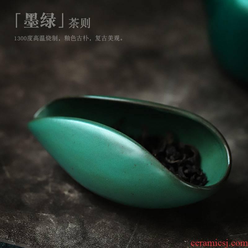 ShangYan ceramic tea holder kung fu tea set with parts who wake up tea holder Japanese ancient tea shovel creative tea is tea spoon