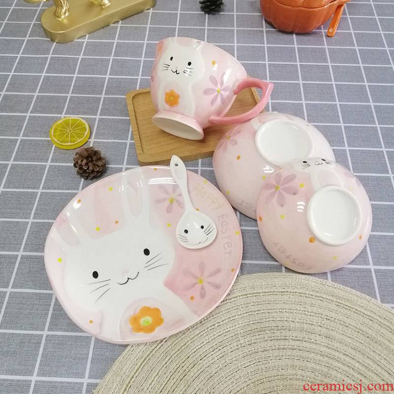Lovely hand - drawn cartoon animals rice dessert bowl of ceramic tableware children suit rabbit dishes breakfast cup