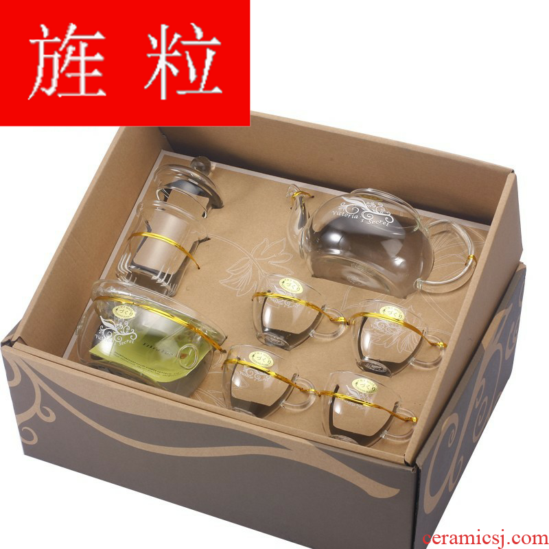 Continuous grain of one house up glass teapot flowers teapot tea fruit teapot with heating base European cup
