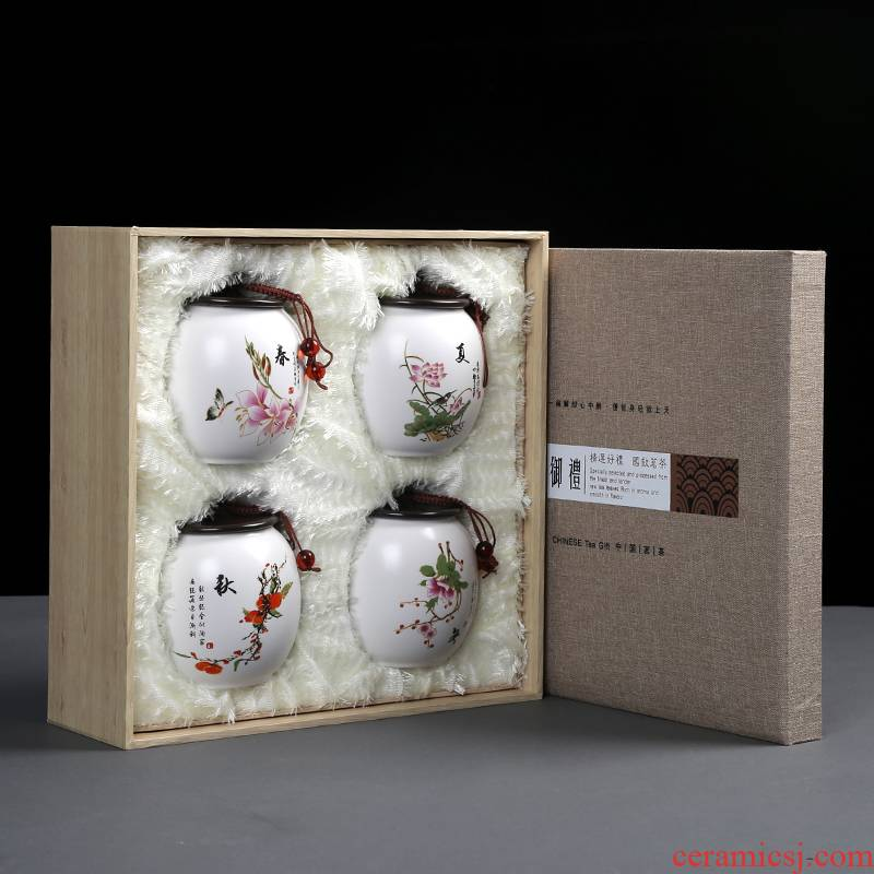 Spring, summer, autumn and winter ceramic tea tins gift boxes aneroid general pu 'er tea, green tea sealed tank half jins installed
