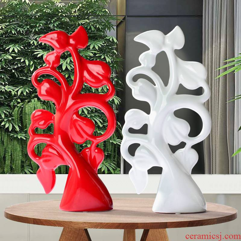 Modern creative European furnishing articles sitting room porch wine rack bedroom ceramic decoration Chinese catalpa tree opening gifts furnishing articles