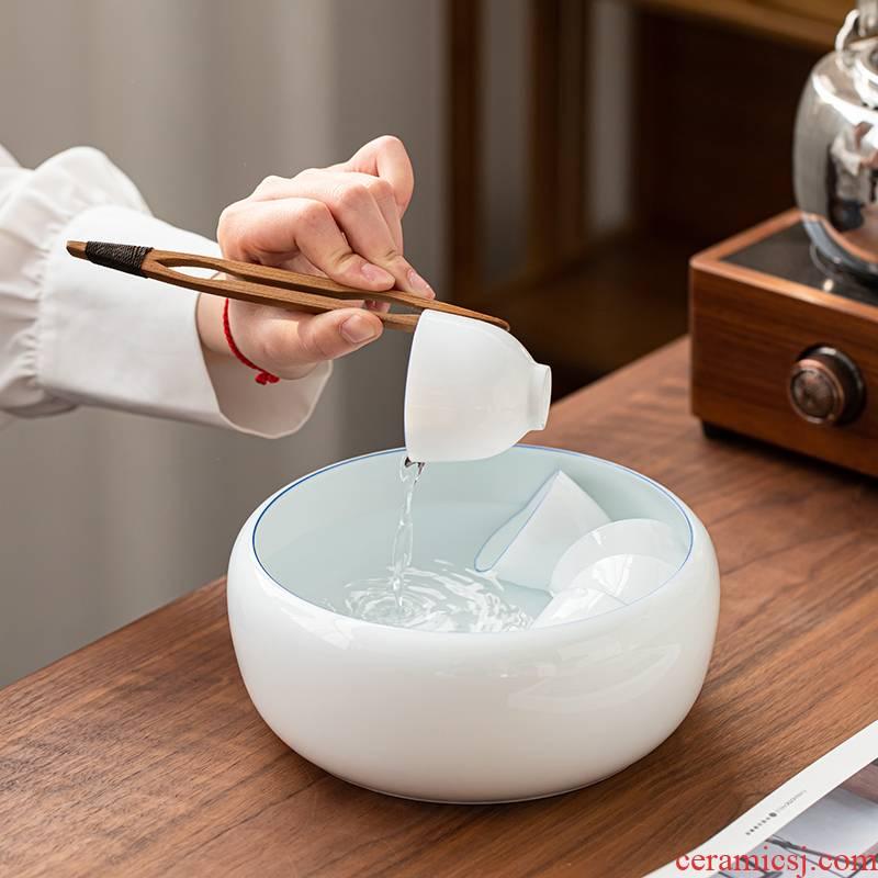 Dehua white porcelain tea wash your ceramic tea cup sweet white porcelain household kung fu tea set spare parts thin foetus writing brush washer