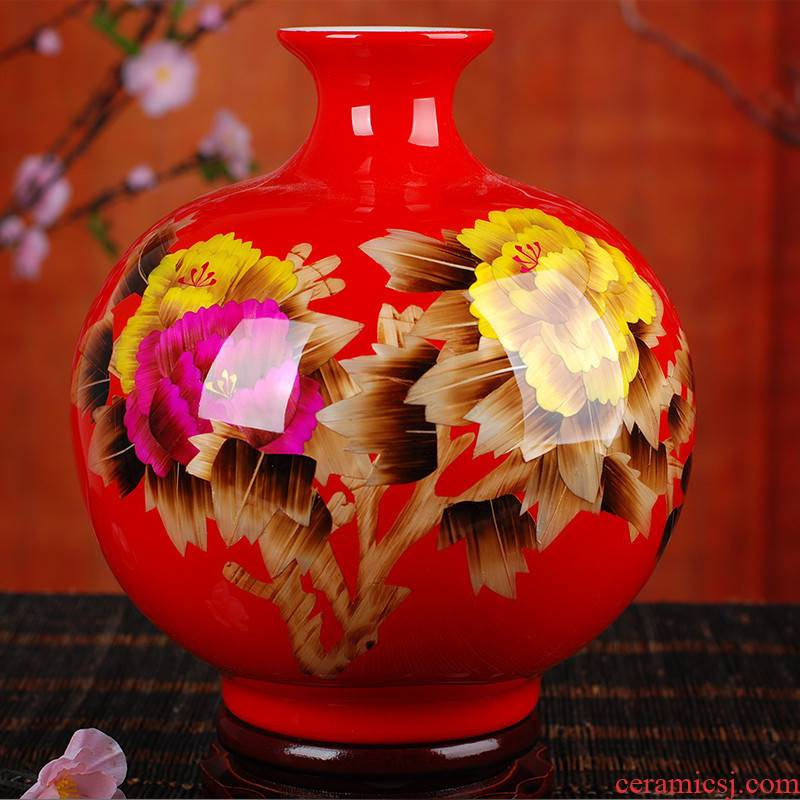 Jingdezhen ceramic vase landing China red peony straw vase, home act the role ofing crafts living room set