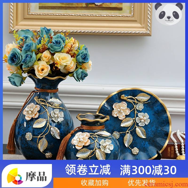 Vase furnishing articles flower arranging European ceramic vases, three - piece suit I and contracted sitting room TV ark, porch decoration process