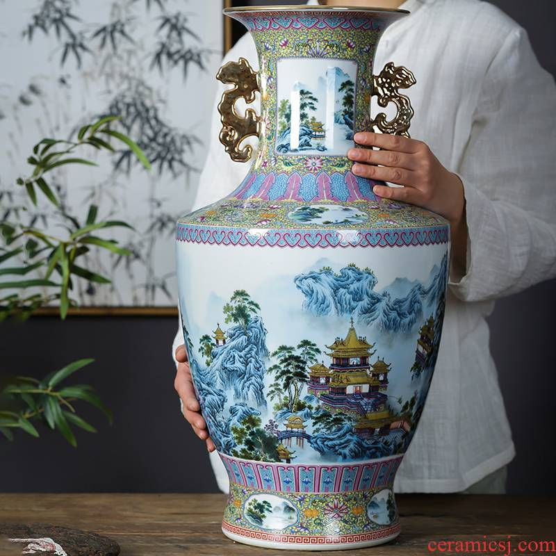 Jingdezhen porcelain ceramic colored enamel large new Chinese style household vase furnishing articles sitting room TV cabinet decoration