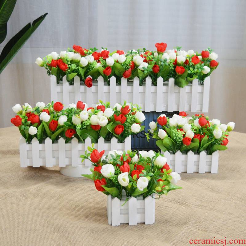 Silk flowers simulation flowers, decorative wooden fence, furnishing articles fake flower bouquets of sitting room balcony table household suit potted the plants