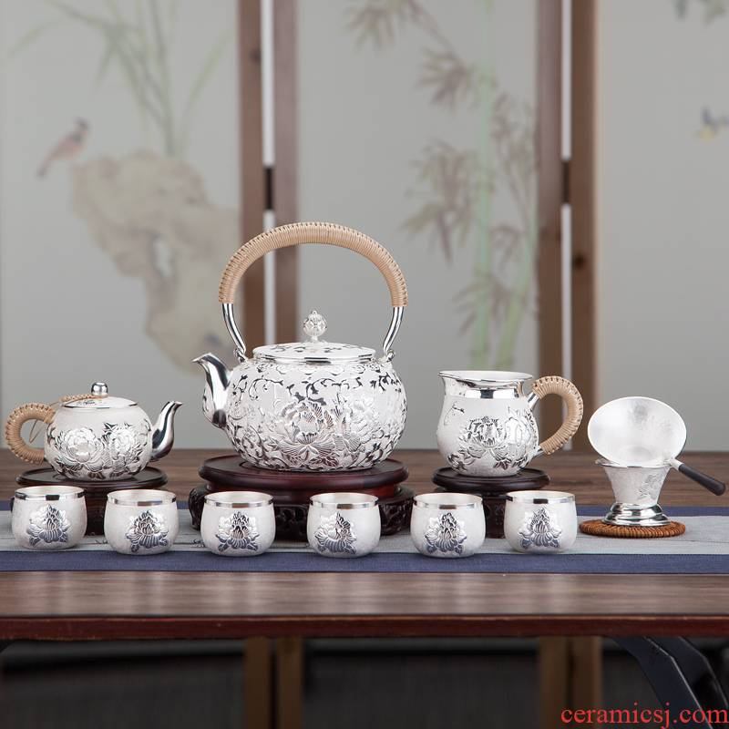 Silver pot kettle sterling Silver 999 manual in yunnan tea set household peony cooking pot high - capacity fine Silver teapot