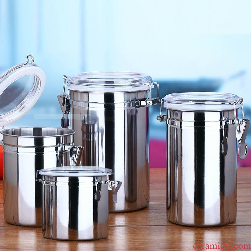 Zhu shopkeeper seal pot stainless steel coffee milk tea dried beans with big tank storage tank steel powder