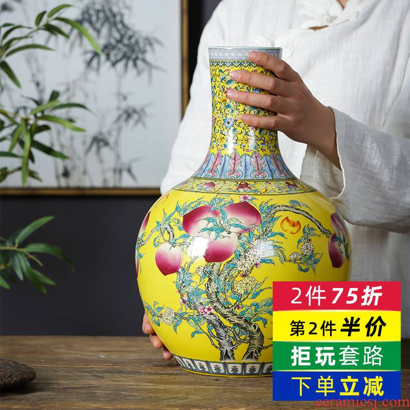Jingdezhen porcelain ceramic vase furnishing articles yellow new Chinese style household living room TV cabinet flower adornment ornament