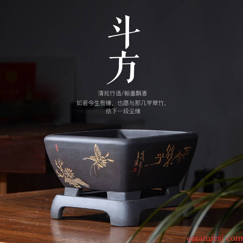 Purple sand flowerpot square ceramic plant bonsai pot hydroponic asparagus, fleshy red sandalwood grass cooper basin with tray