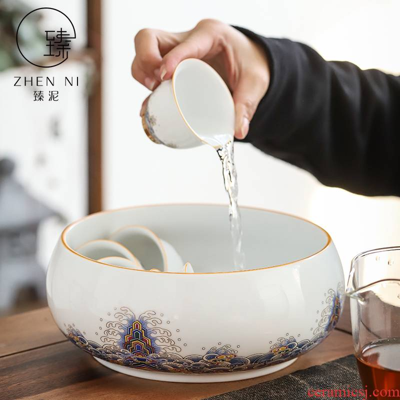 By white porcelain enamel see colour tea wash mud large home building water cup jar is writing brush washer water writing brush washer from kung fu tea accessories