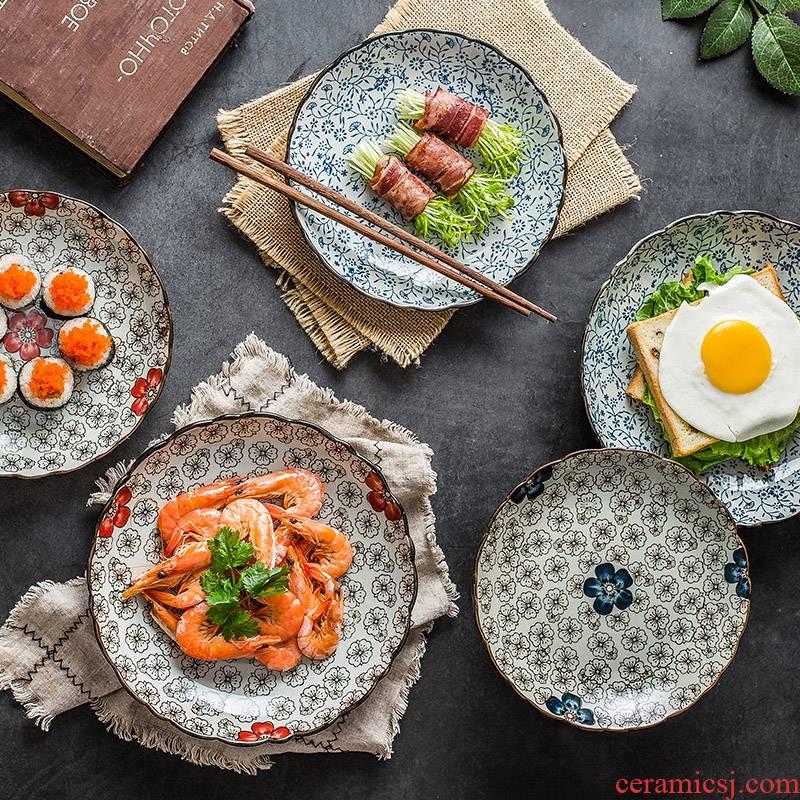 Japanese jingdezhen ceramic tableware under the glaze color creative dish dish dish FanPan disc plate ceramic plate