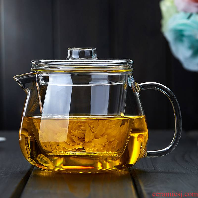 Element at the beginning of glass teapot single pot of thickening heat resisting high temperature filtration small flower pot of household water separation teapot