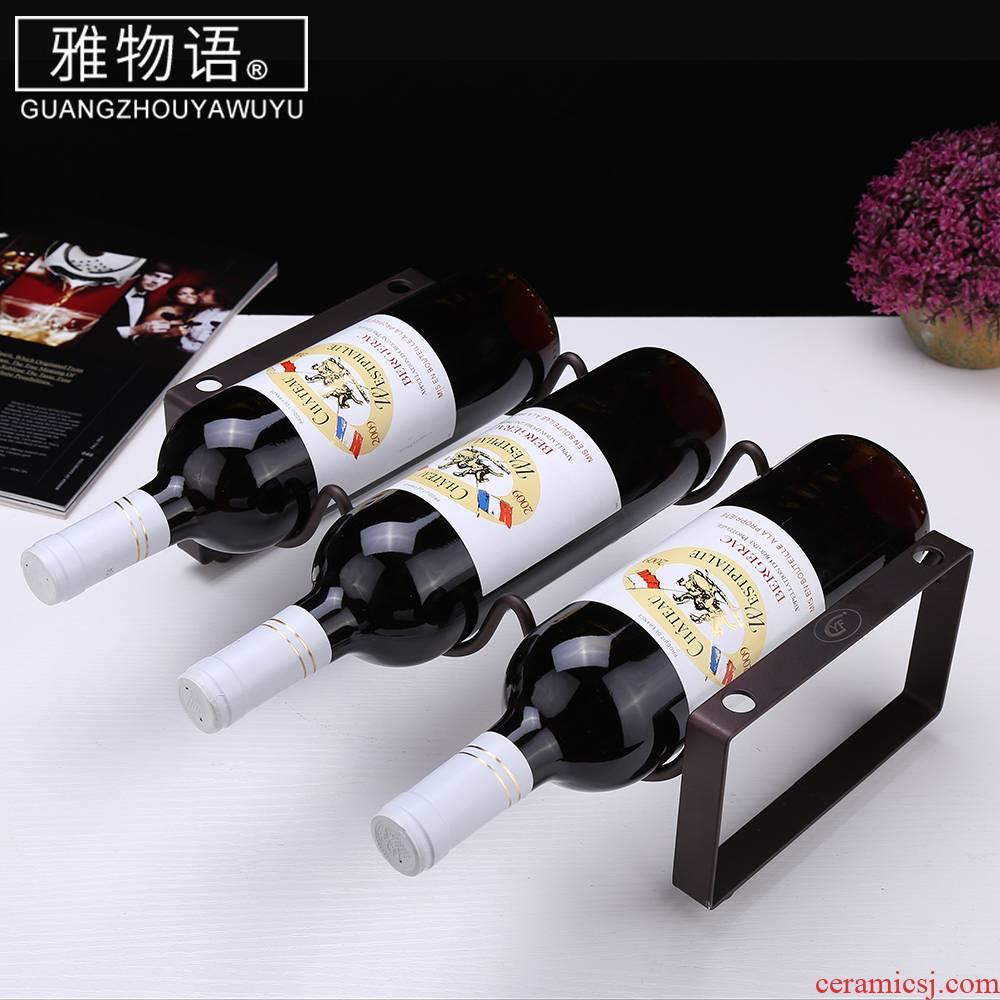 Jas monogatari flat iron piled up three bottles of red wine rack furnishing articles creative display bottle home European wine rack