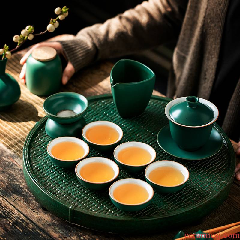 ShangYan ceramic tea set household contracted sitting room ground tea set round tea table teapot teacup set