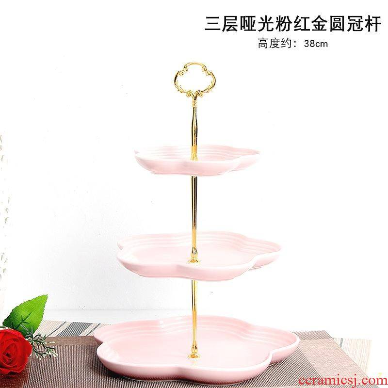Fruit bowl sitting room multi - layer Nordic originality afternoon tea heart double shelf cake tray was home