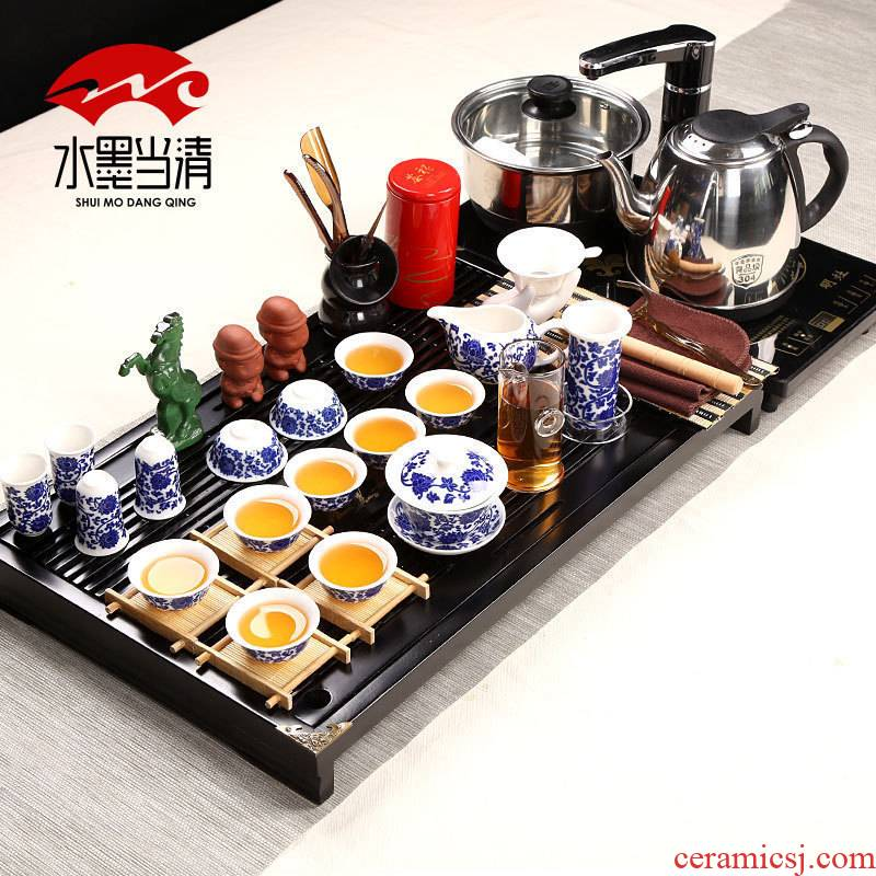 Tea set glass ceramic cups kung fu Tea four unity drainage Tea tray was contracted household Chinese Tea art
