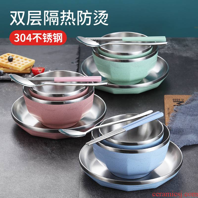304 stainless steel bowl chopsticks sets domestic students creative one single children drop bowl dish of cutlery set