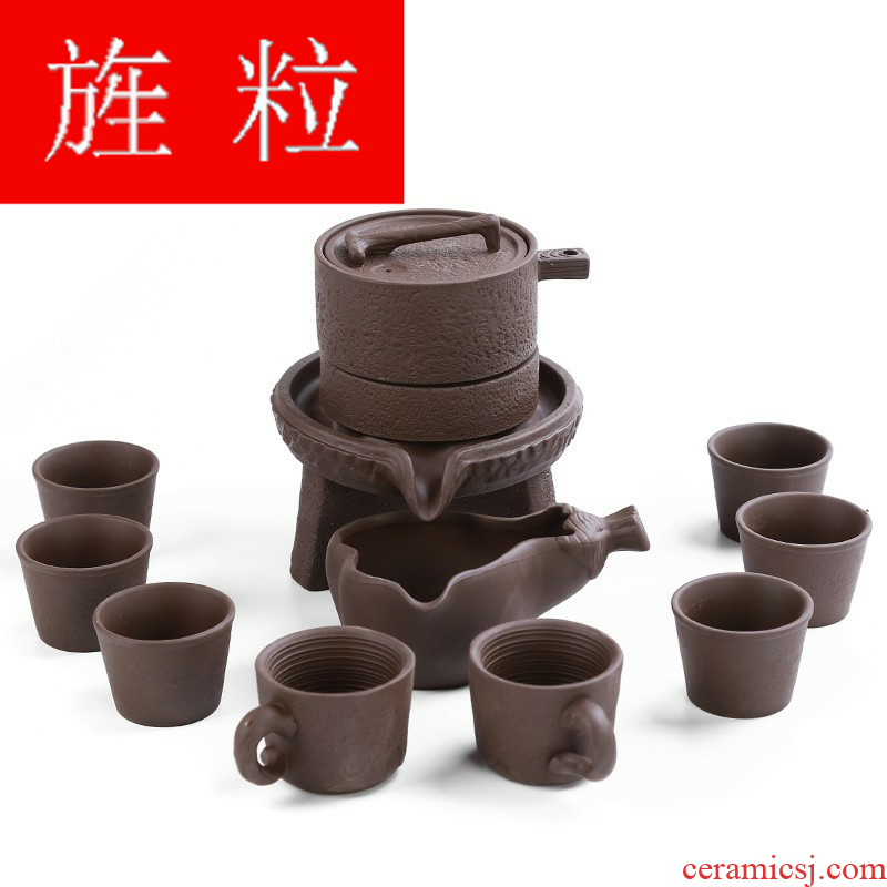 Continuous grain tea sets fit ceramic lazy all semi - automatic purple sand teapot teacup kung fu creativity brewed