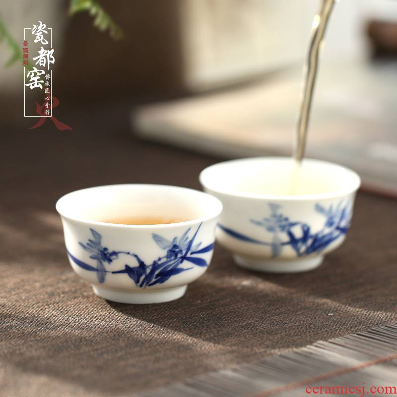 Jingdezhen hand - made sample tea cup of blue and white porcelain ceramic tea a single, small single master kung fu tea cups