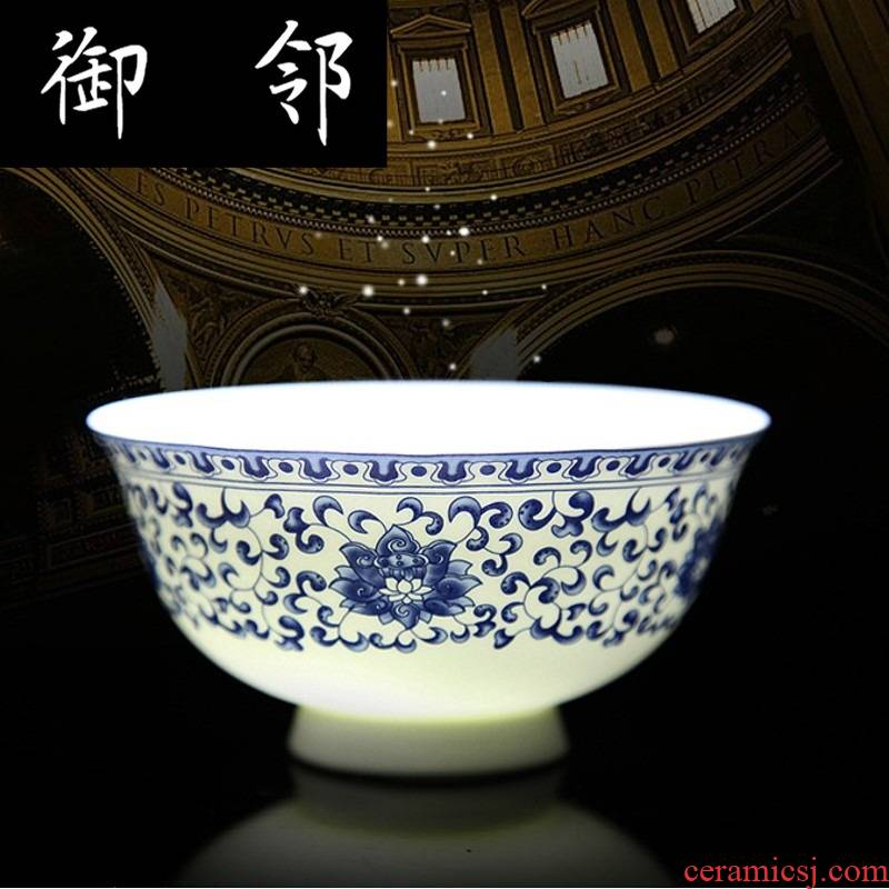 Propagated jingdezhen ceramic bowls of glair blue and white ipads plate suit household tableware suit gift porcelain