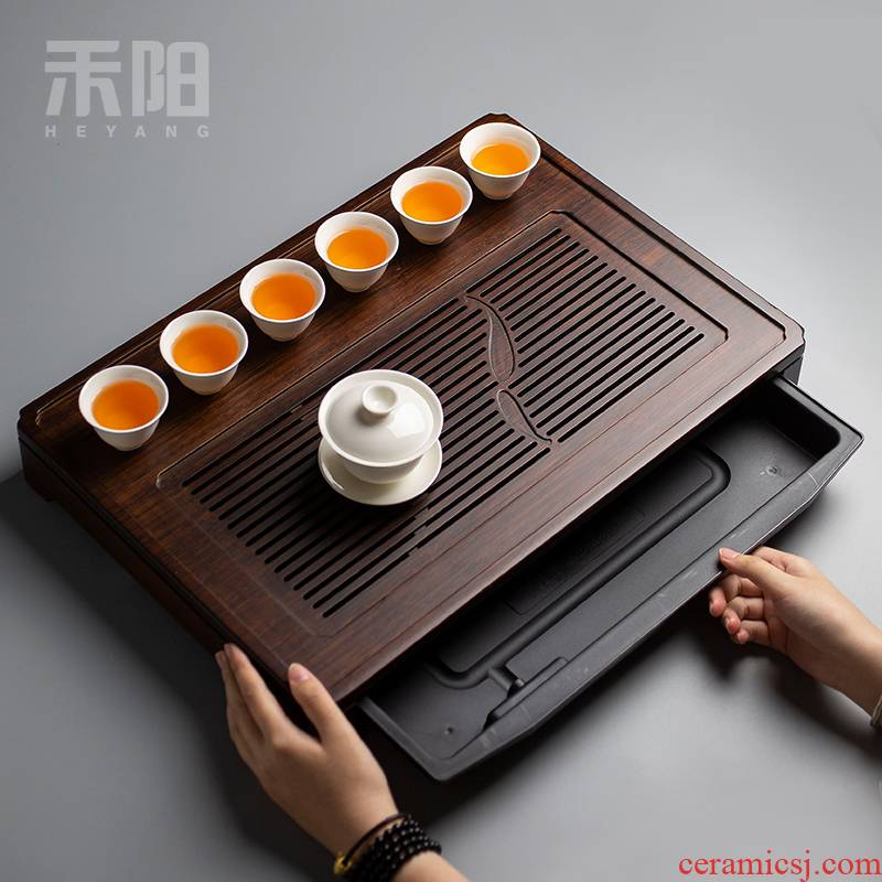 Send Yang water bamboo tea tray household contracted row store dry dual - use kung fu tea set drop bamboo tea tea