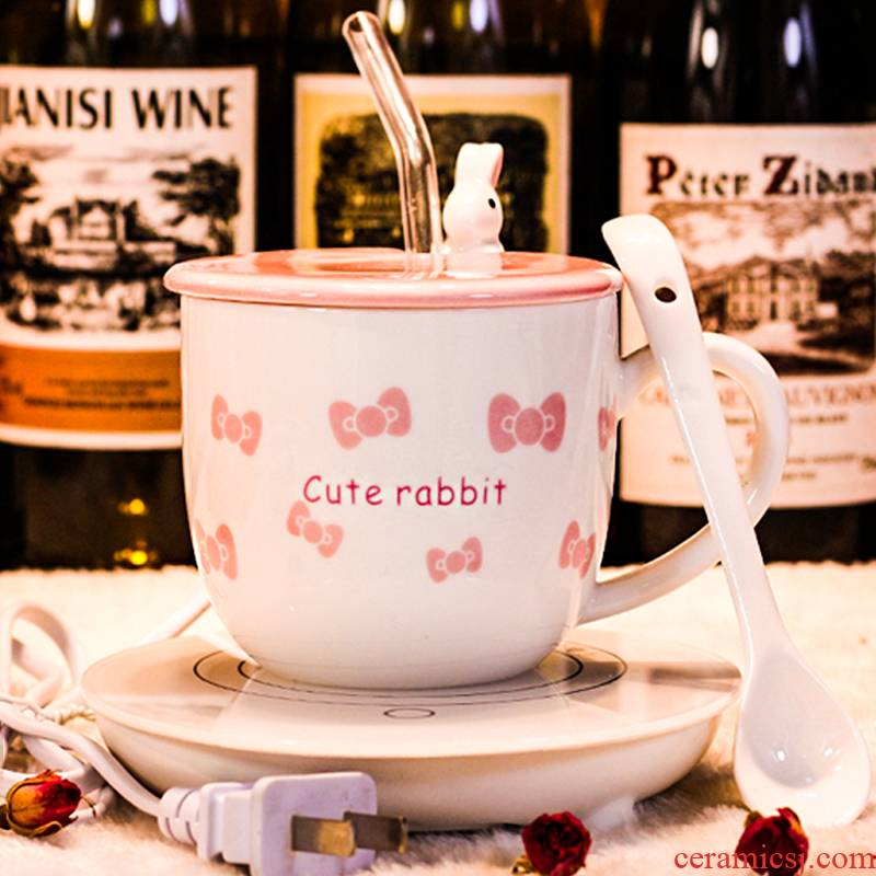 Office glass ceramic keller with spoon girl lovely cup creative cartoon character rabbit with straw