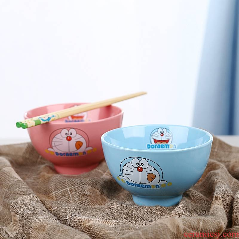 Doraemon ceramic bowl children cartoon express single job students creative move of noodles bowl.