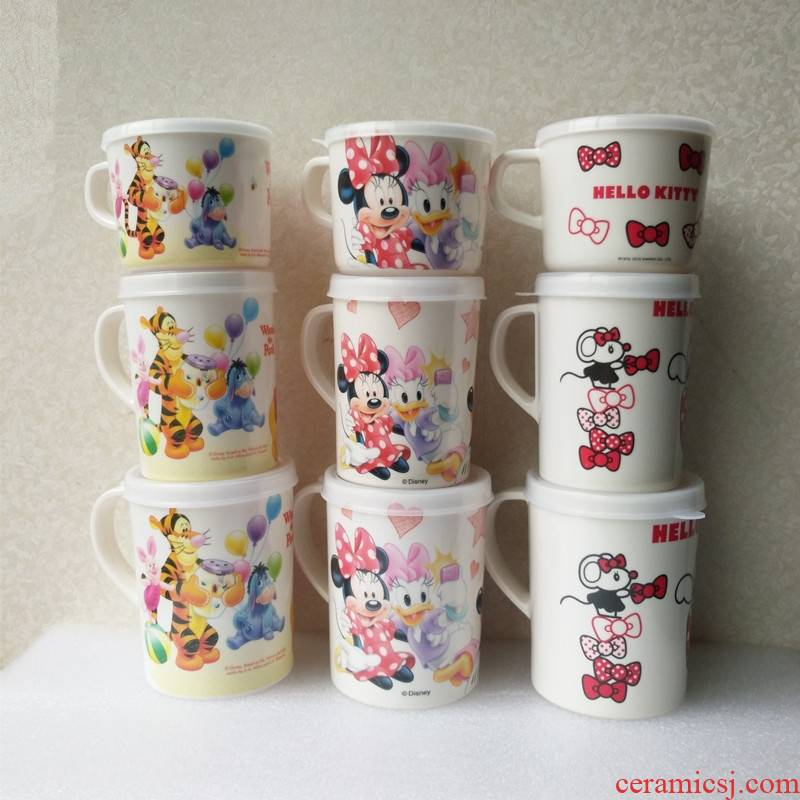 The List of guest melamine tableware cartoon keller cup with cover children gargle cup milk cup