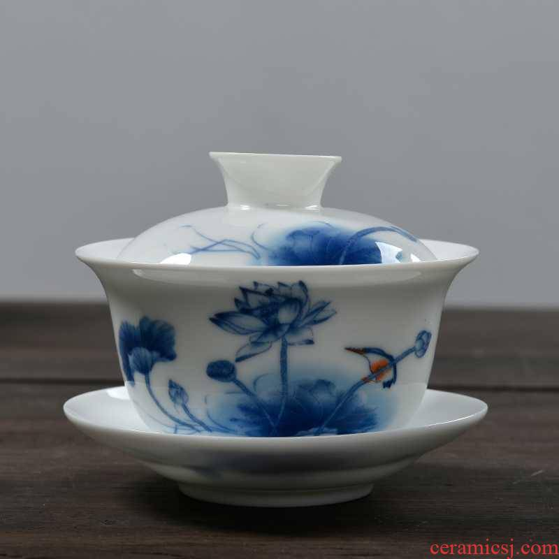 Blue and white porcelain tureen large tea cups for ceramic kung fu tea set three to a cup of tea to use hand grasp the teapot