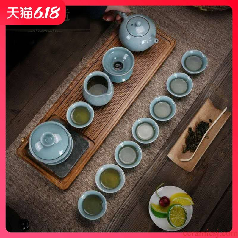 Hold to guest comfortable elder brother up of a complete set of ceramic tea set on crack lid bowl of tea gift set custom Lo