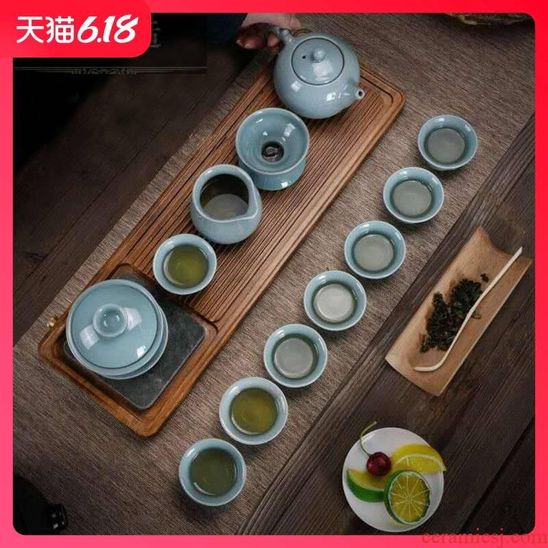 Hold to guest comfortable elder brother up of a complete set of ceramic tea set on crack lid bowl of tea gift set custom Lo