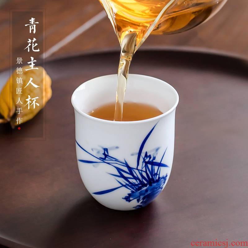 Kung fu tea cups jingdezhen blue and white porcelain is a large single hand - made ceramic sample tea cup tea pu - erh tea masters cup
