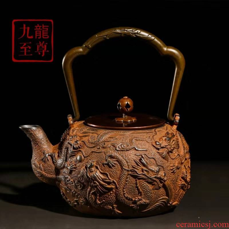 Four - walled yard cast iron teapot by hand brother regimen with filter Kowloon sovereign pot of boiling water to make tea with no coating