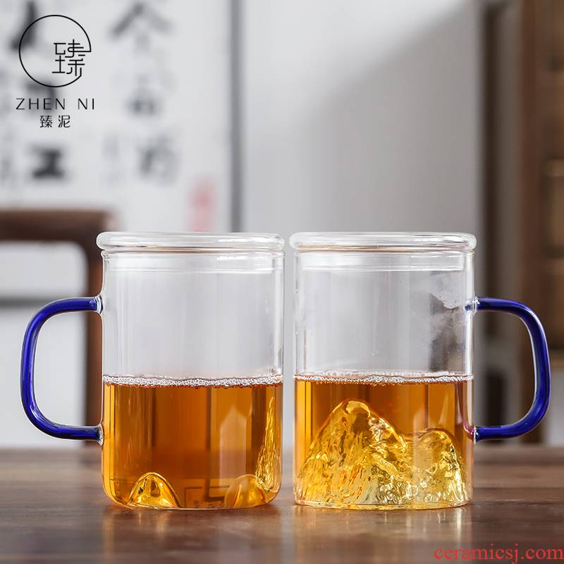 By mud glass heat - resistant glass tea office cup with cover handle household high borosilicate transparent scented tea keller