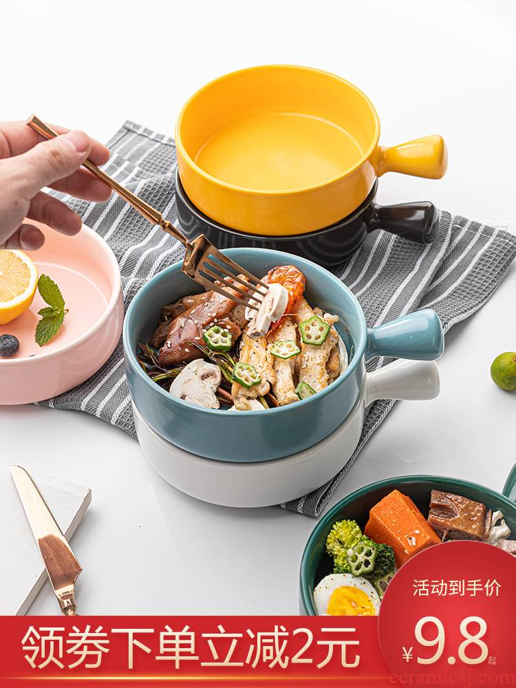Ceramic terms rainbow such as bowl of fruit salad bowl creative household handle baking tray oven baked rice bowl individual move