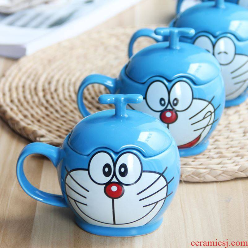 Choi pomelo with cover with a spoon, stereo duo la jingle cats creative cartoon cup ceramic keller cup of coffee cup