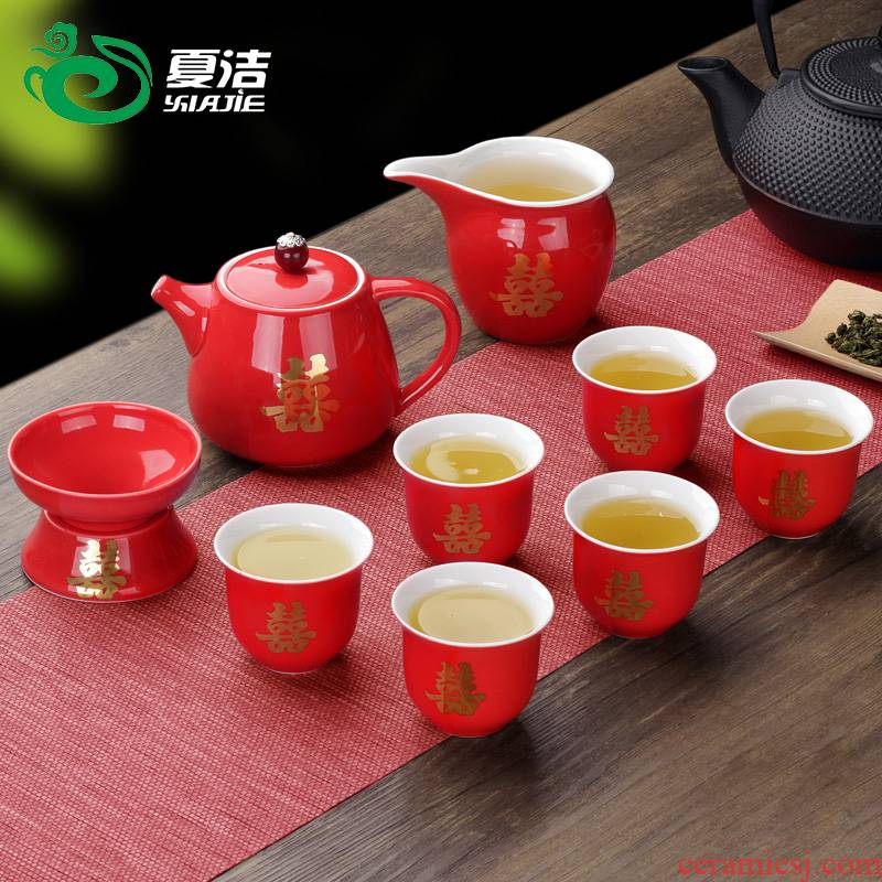 Four - walled yard I glass ceramic worship tureen red double happiness three cups to corwin tureen tea tea set custom