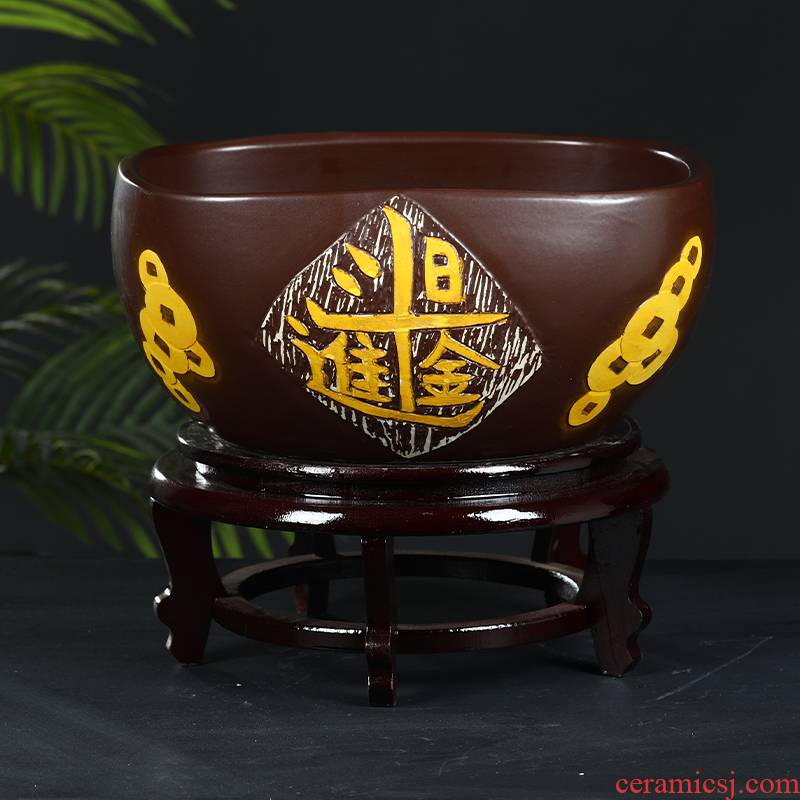 Art spirit of jingdezhen ceramic aquarium goldfish bowl turtle sleep basin bowl of refers to basin water lily lotus cylinder betelnut basin