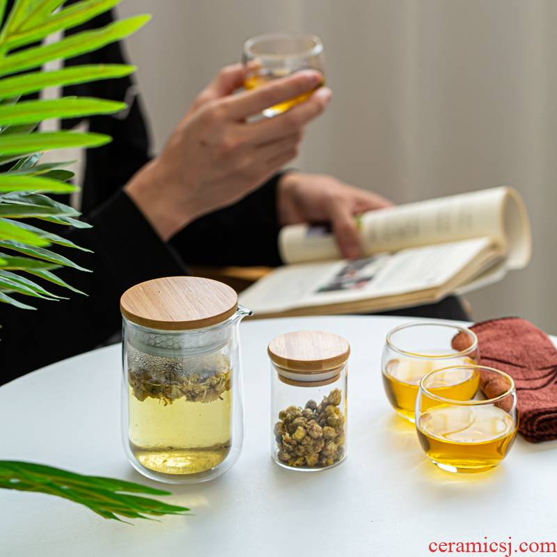 Glass travel kung fu tea set contracted is suing portable bag type crack cup small set of a pot of two cups of three cup