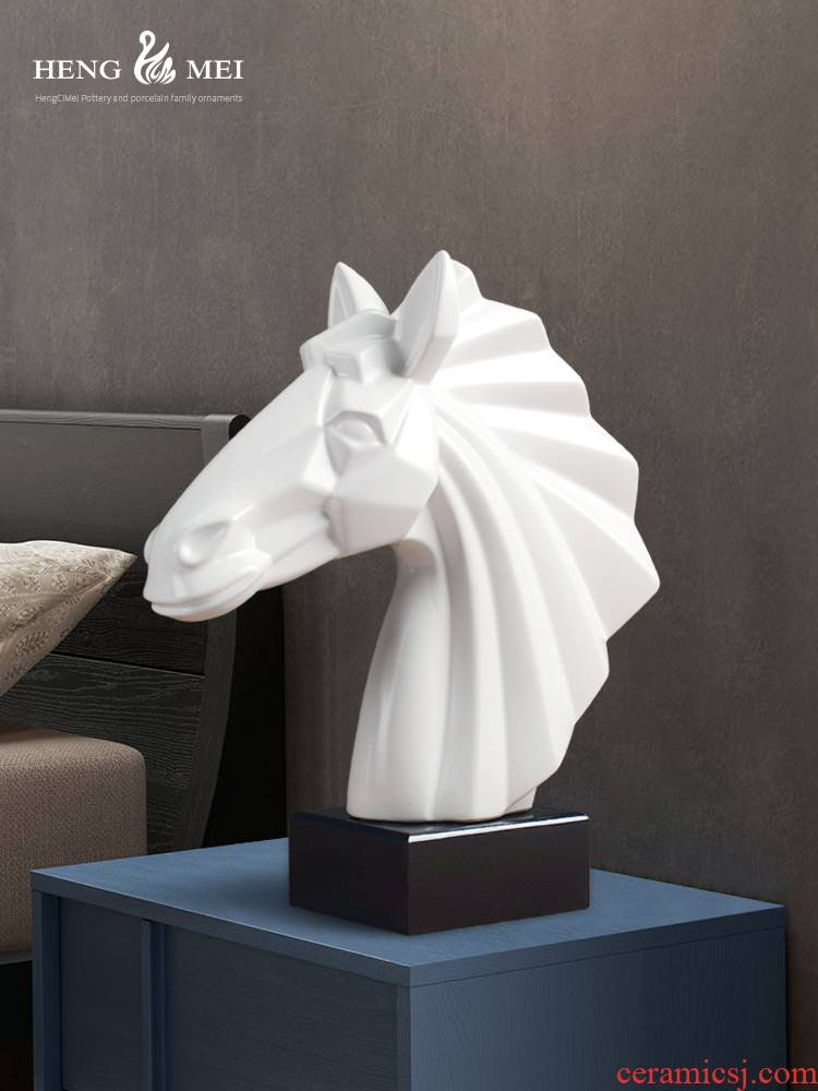 Nordic sitting room porch ceramic horsehead furnishing articles study creative office household soft adornment ornament