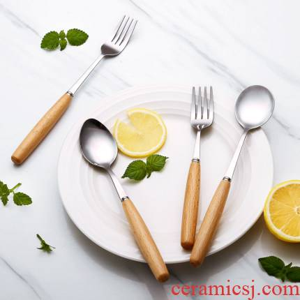 Informs the stainless steel cutlery knife and fork spoon, three - piece fruit fork fork wooden spoon, wooden handle western tableware